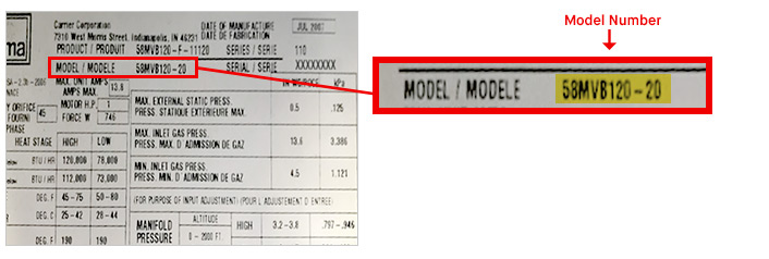 What is Carrier Model Number