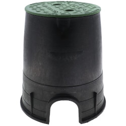 """6"""" Round Standard Series Irrigation Control Valve Box (Black Box/Green Cover)  Product Image"""