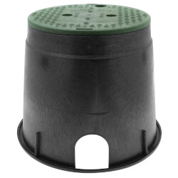 """10"""" Round Standard Series Irrigation Control Valve Box (Black Box/Green Cover) Product Image"""