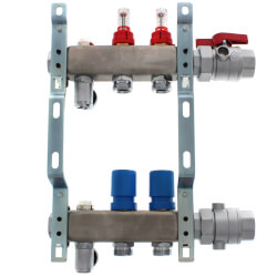 """2 Loop 1-1/4"""" Stainless Steel Manifold w/ Flowmeter & Ball Valve (Fully Assembled) Product Image"""