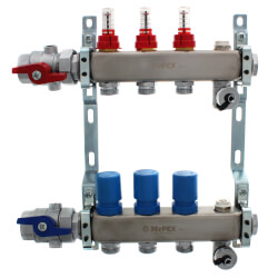 """3 Loop 1-1/4"""" Stainless Steel Manifold w/ Flowmeter & Ball Valve (Fully Assembled) Product Image"""
