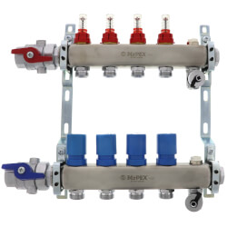 """4 Loop 1-1/4"""" Stainless Steel Manifold w/ Flowmeter & Ball Valve (Fully Assembled) Product Image"""