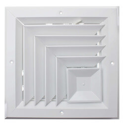 """8"""" x 8"""" (Wall Opening Size) White 2-Way Corner Ceiling Diffuser (A505MS Series) Product Image"""