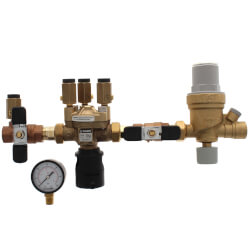 """1/2"""" Threaded 574 Brass RPZ Backflow Preventer & AutoFill Combo w/ Gauge (Lead Free) Product Image"""