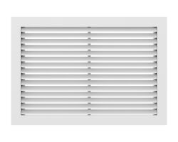 """18"""" x 18"""" (Wall Opening Size) White Aluminum Return Air Grille w/ 90° Fixed Blade (RH90 Series) Product Image"""