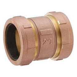 """3/8"""" IPS (1/2"""" CTS) Brass Compression Coupling Long (Lead Free) Product Image"""