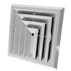 """MV3S Ceiling Diffuser<br>w/ 3-Way Grille (6"""" x 6"""") Product Image"""