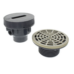 """2"""" x 3"""" PVC Complete Assembly Drain, Bronze Strainer w/ 5-1/2"""" Top (Hub) Product Image"""
