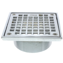 """5"""" Square Floor Drain Grate and Screws (Chrome Plated) Product Image"""