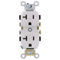 Duplex Receptacle w/ Self Grounding Clip, 20A, NEMA 5-20R - White (125V) Product Image