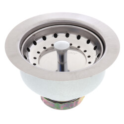 """Dayton 3-1/2"""" Stainless Steel Drain with Removable Basket Strainer and Rubber Stopper Product Image"""
