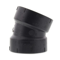 """1-1/2"""" Hub ABS DWV 22-1/2° Elbow Product Image"""