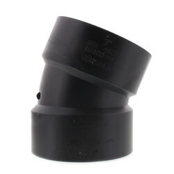 """3"""" Hub ABS DWV 22-1/2° Elbow Product Image"""