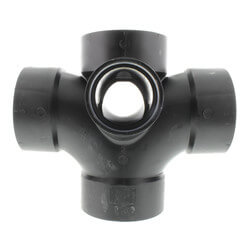"""3"""" x 3"""" x 3"""" x 3"""" x 2"""" x 2"""" H ABS Dbl Sanitary Tee with Two 90° Inlets (583599) Product Image"""