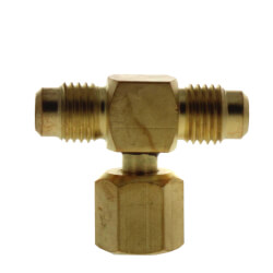 """1/4"""" M. Flare w/ Valve Core and Cap x 1/4"""" M. Flare x 1/4"""" F. Flare Nut w/ Depressor Tip on Branch Brass Tee Connector Product Image"""