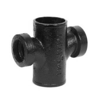 "4"" x 1-1/2"" NH35 Cast Iron No-Hub Sanitary Tapped Cross Product Image"