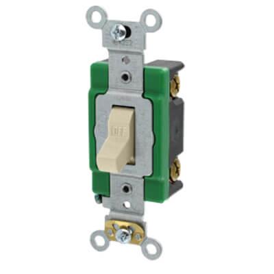 Single-Pole, Specification Grade Toggle Switch, 30A - Ivory (120/277V) Product Image