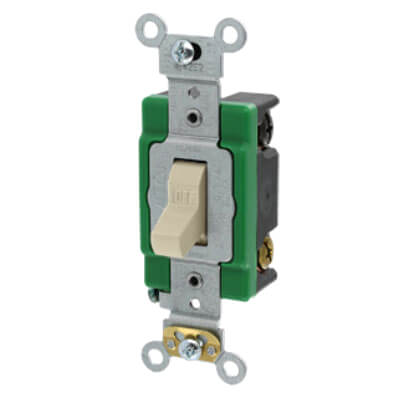 Double-Pole, Specification Grade Toggle Switch, 30A - Ivory (120/277V) Product Image