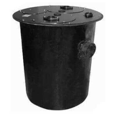 """24"""" x 30"""" Simplex Polyethylene Basin w/ 4"""" Cast Iron Inlet Hub & One Piece Steel Cover, 2"""" Vent, 2"""" Discharge Product Image"""