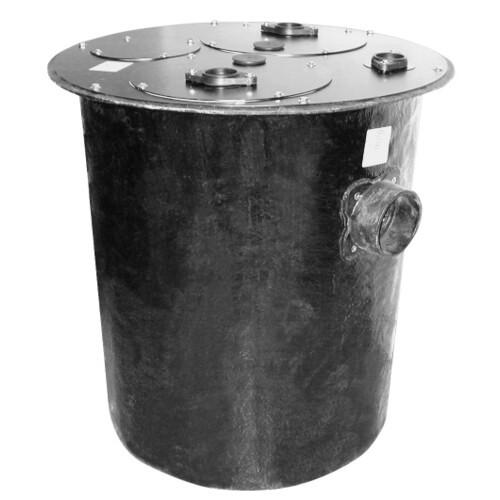 "30"" x 36"" Duplex Polyethylene Basin w/ 4"" Cast Iron Inlet Hub & Solid Duplex Cover Product Image"