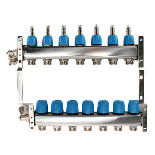 """7 Loop 1-1/4"""" Stainless Steel Manifold w/ Flowmeter & Ball Valve (Fully Assembled) Product Image"""
