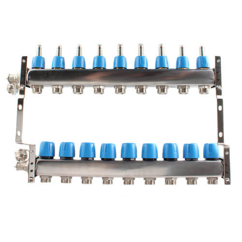 """9 Loop 1-1/4"""" Stainless Steel Manifold w/ Flowmeter & Ball Valve (Fully Assembled) Product Image"""