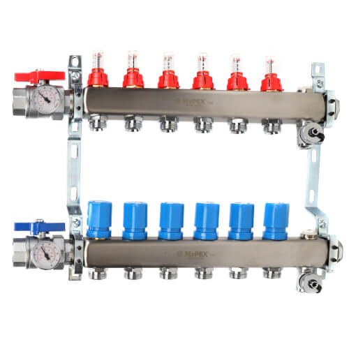 """6 Loop 1-1/4"""" Stainless Steel Manifold w/ Flowmeter & Ball Valve (Fully Assembled) Product Image"""