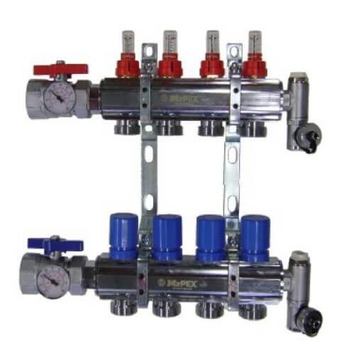"""4 Loop 1-1/2"""" Chrome Plated Brass Manifold w/ Flowmeter & Ball Valve (Fully Assembled) Product Image"""