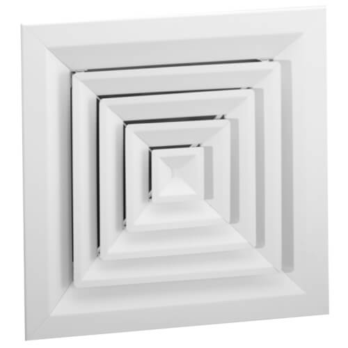 """18"""" x 18"""" (Wall Opening Size) White Extruded Aluminum Louvered Ceiling Diffuser (ARE Series) Product Image"""