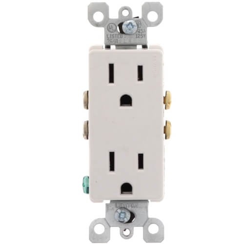 Decora Duplex Receptacle w/ Quickwire - White (5-15R, 15 Amp, 125V) Product Image