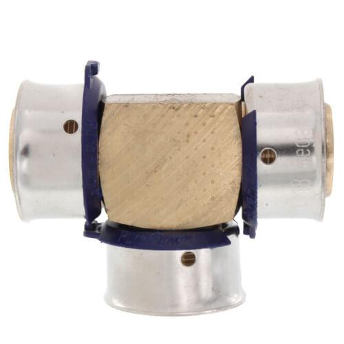 "3/4"" PEX Press Tee w/ Attached Sleeve (Zero Lead Bronze) Product Image"