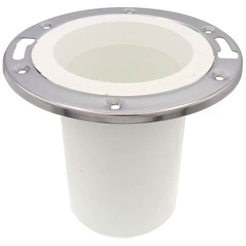 """3"""" x 4"""" PVC Closet Flange w/ Stainless Steel Ring Product Image"""