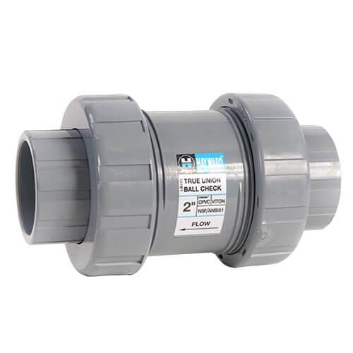 "1-1/2"" TC Series CPVC True Union Ball Check Valve w/ FPM O-Ring - Gray (Socket x Threaded) Product Image"