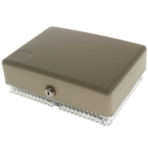Large Universal Thermostat Guard with Beige Painted Steel Cover Product Image