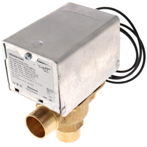 """3/4"""" Sweat Connection 3 Way Zone Valve, port A normally closed (24v) Product Image"""
